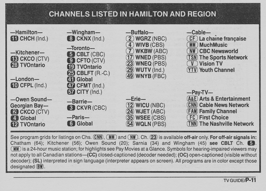 TV Guide April 28 1990 Hamilton & Region Edition Channels Listed