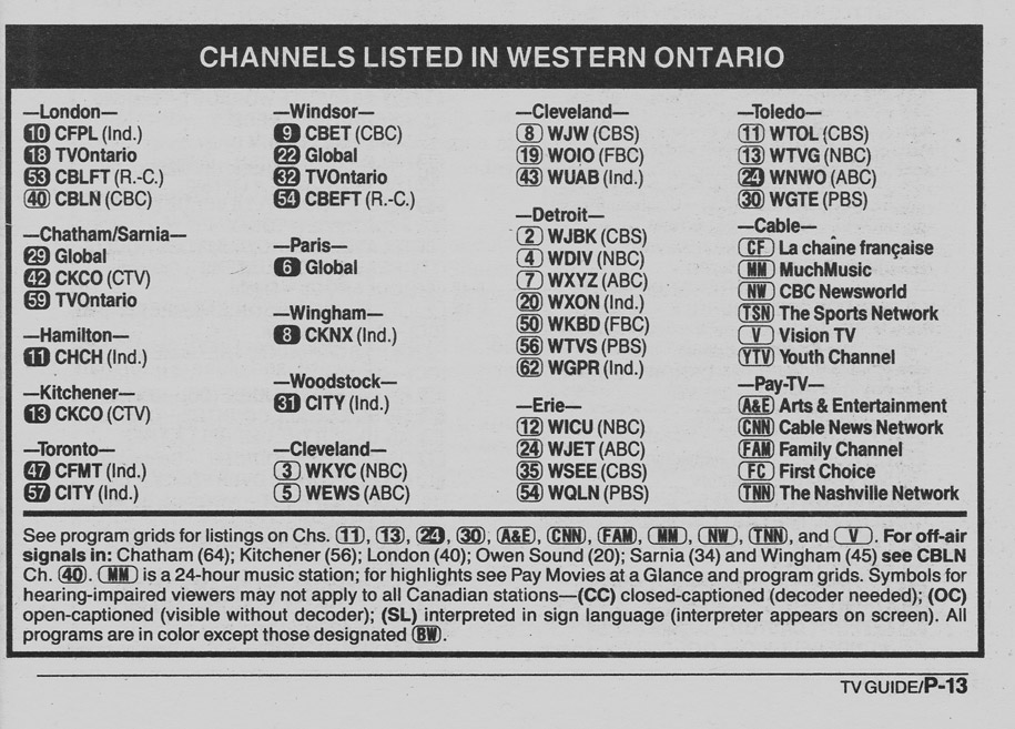 TV Guide May 5 1990 Western Ontario Edition Channels Listed