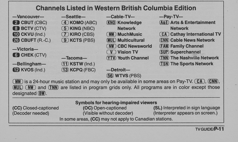 TV Guide May 12 1990 Western British Columbia Edition Channels Listed