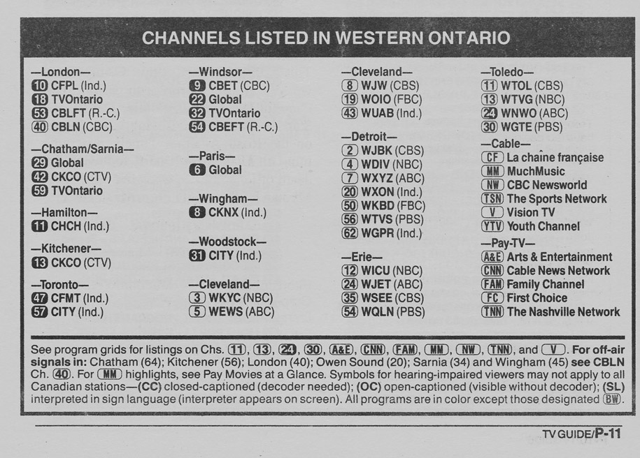 TV Guide August 11 1990 Western Ontario Edition Channels Listed