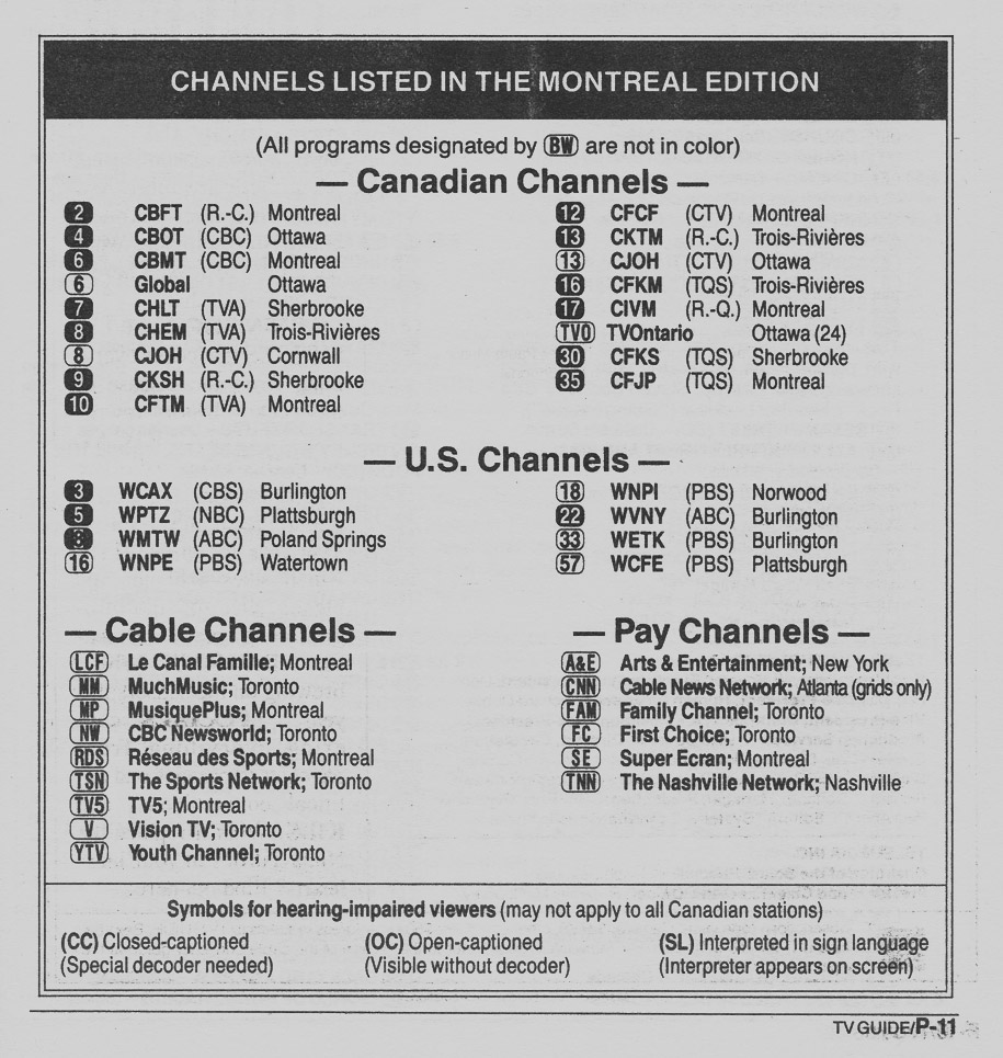 TV Guide September 12 1990 Montreal Edition Channels Listed