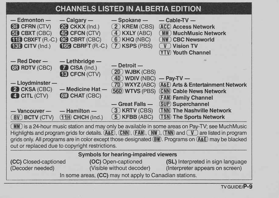 TV Guide May 11 1991 Alberta Edition Channels Listed