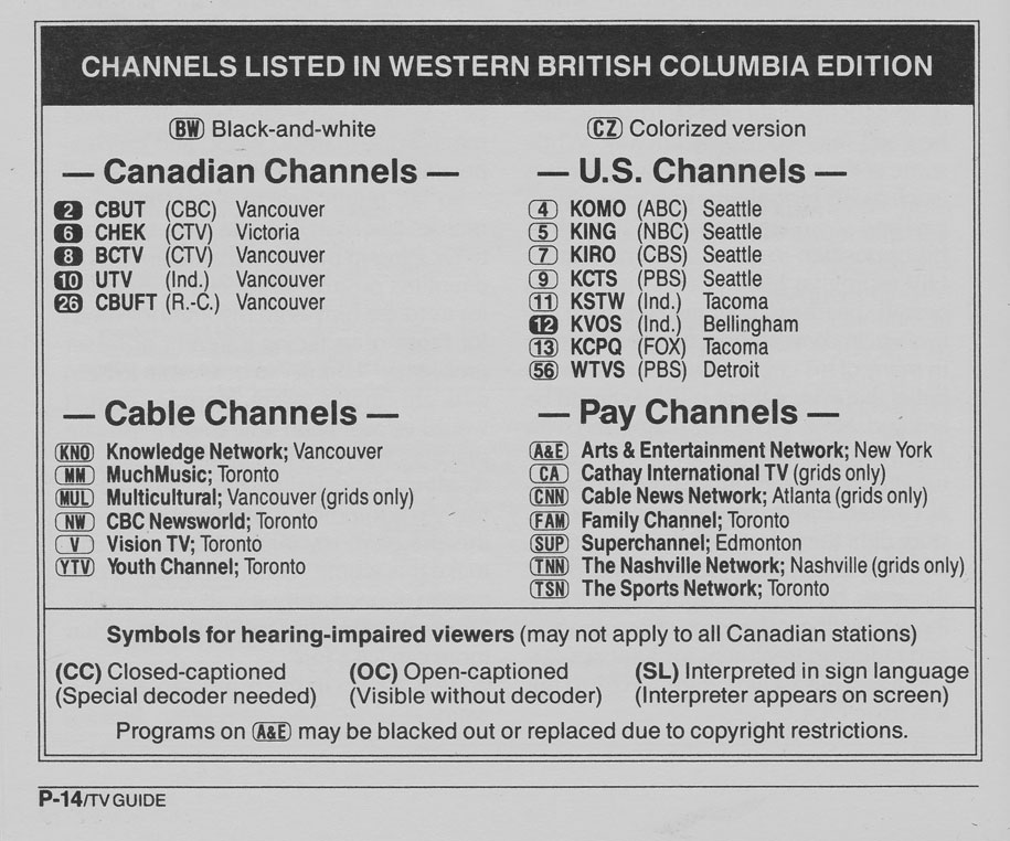 TV Guide August 24 1991 Western British Columbia Edition Channels Listed