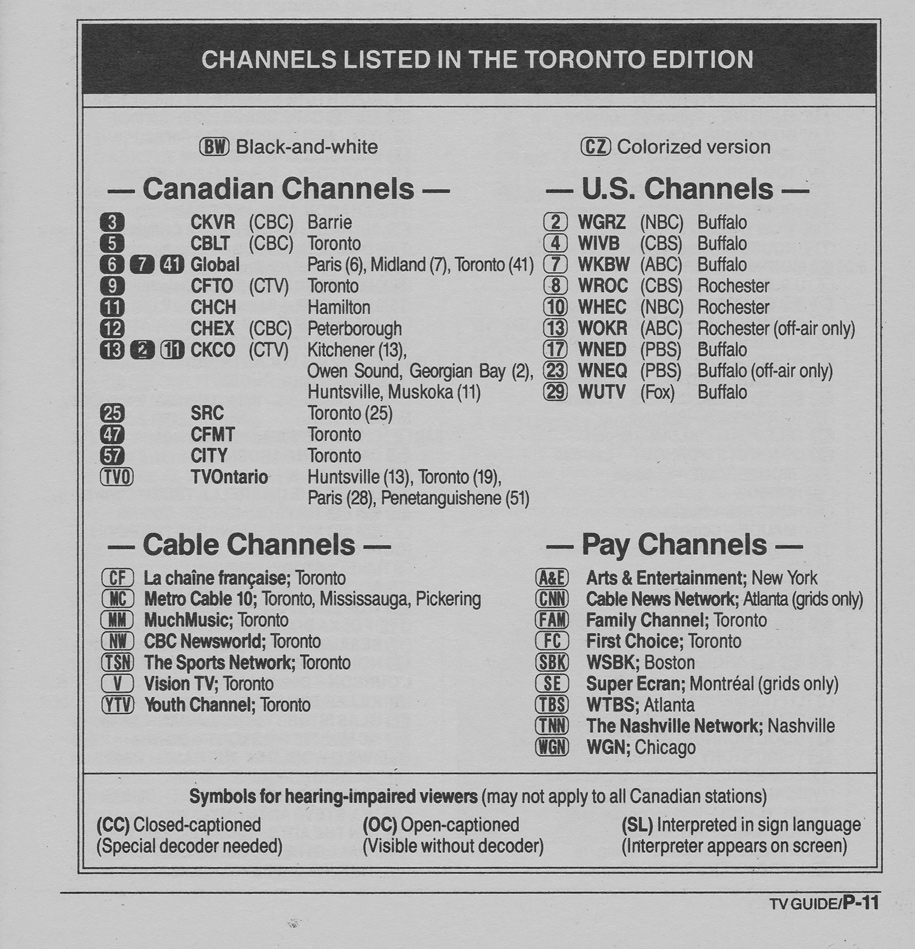 TV Guide October 5 1991 Toronto Edition Channels Listed