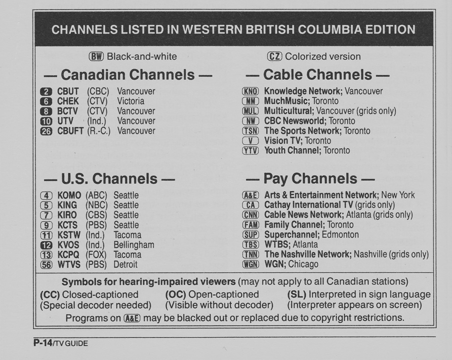 TV Guide October 5 1991 Western British Columbia Edition Channels Listed