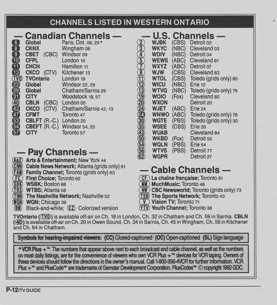 TV Guide December 28 1991 Western Ontario Edition Channels Listed