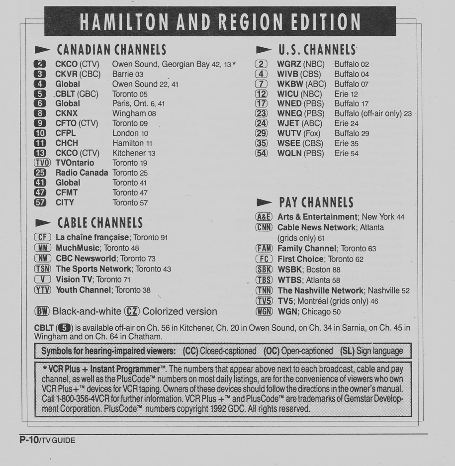 TV Guide January 4 1992 Hamilton & Region Edition Channels Listed