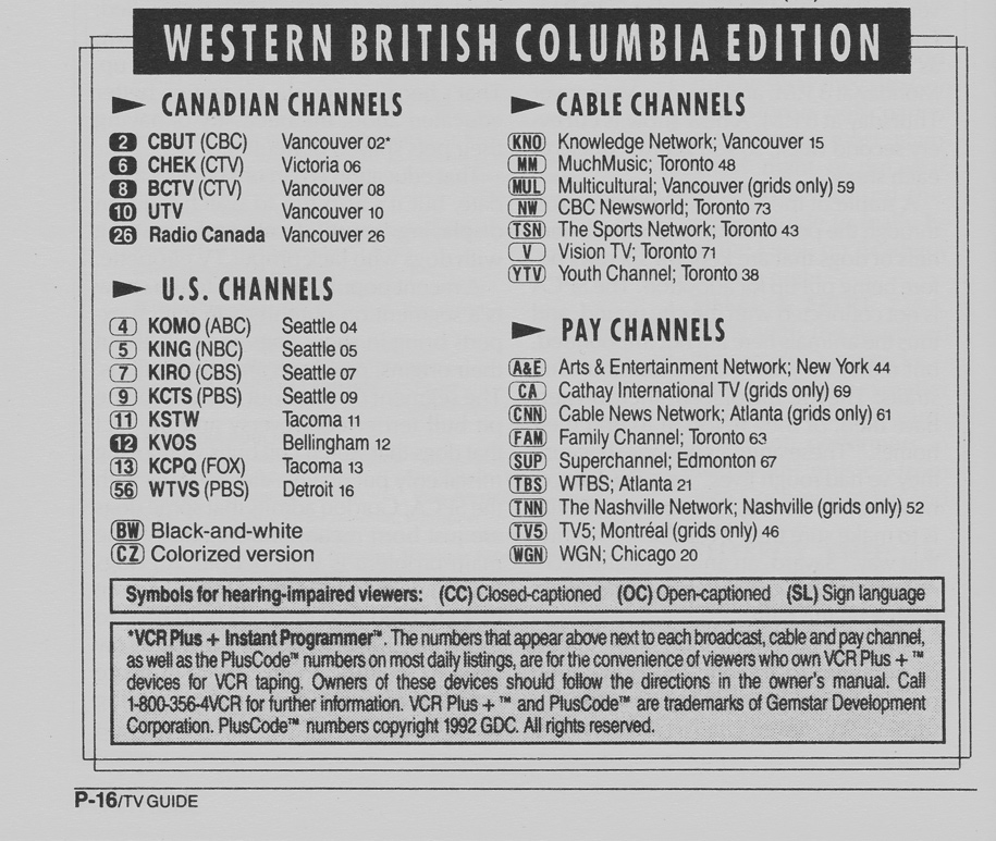 TV Guide March 21 1992 Western British Columbia Edition Channels Listed