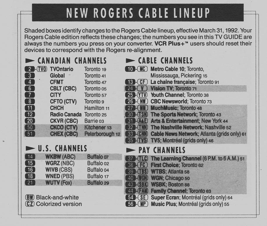 Vintage channel guide from toronto rogers cable edition of tv.