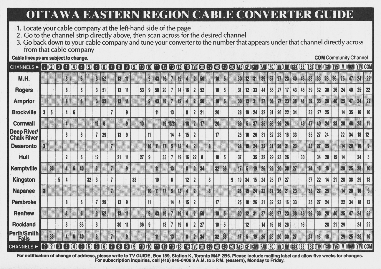 TV Guide April 18 1992 Ottawa-Eastern Ontario Edition Cale Converter Guide