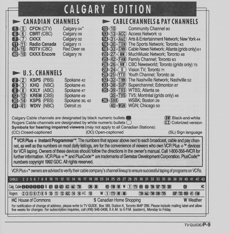TV Guide September 12 1992 Calgary Cable Edition Channels Listed