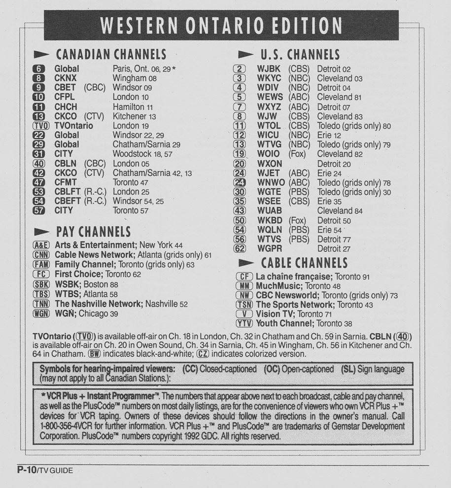 TV Guide September 12 1992 Western Ontario Edition Channels Listed