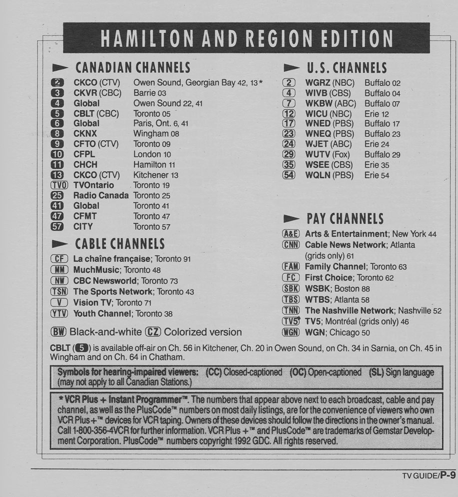 TV Guide October 3 1992 Hamilton & Region Edition Channels Listed