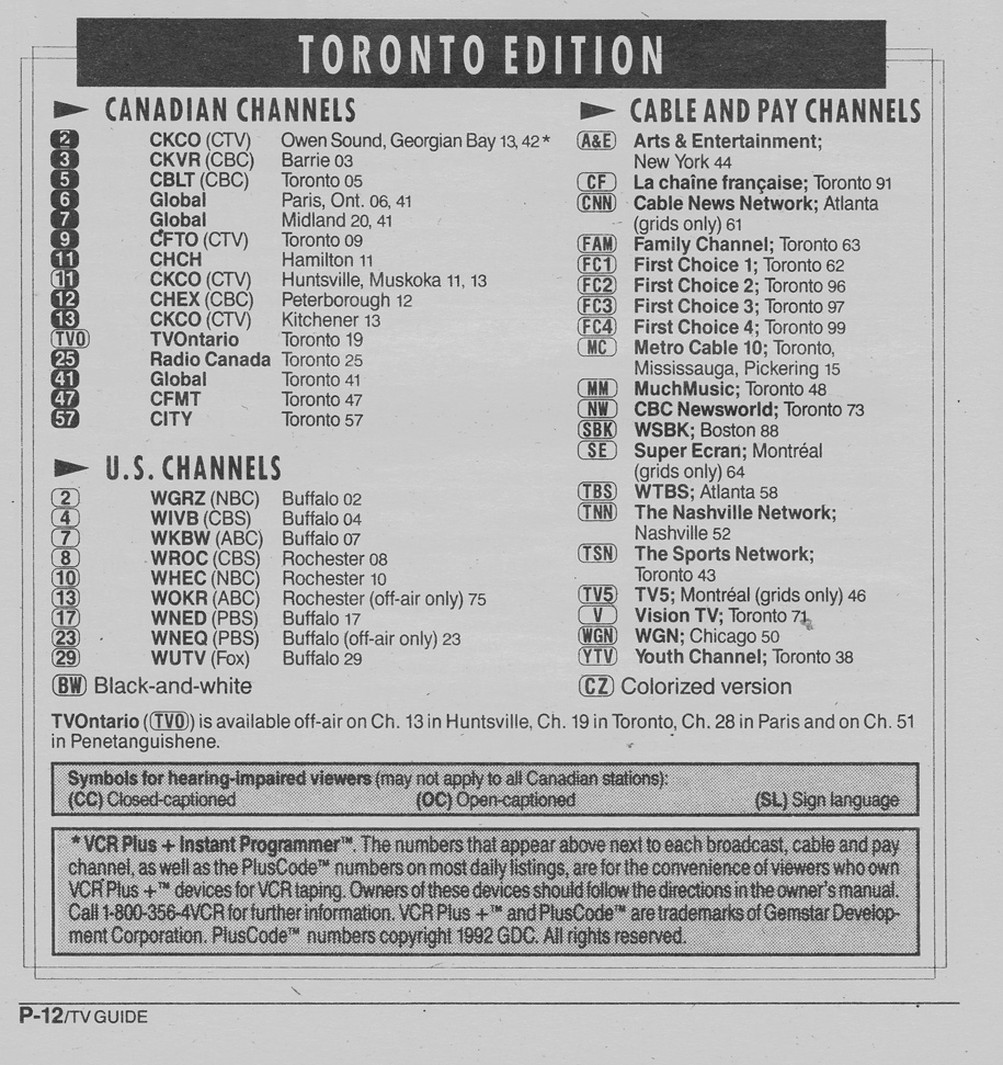 TV Guide November 7 1992 Toronto Edition Channels Listed