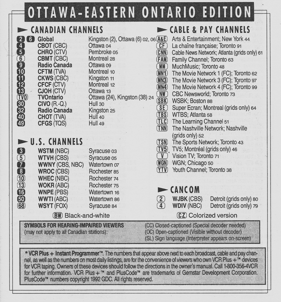 TV Guide March 6 1993 Ottawa-Eastern Ontario Edition Channels Listed