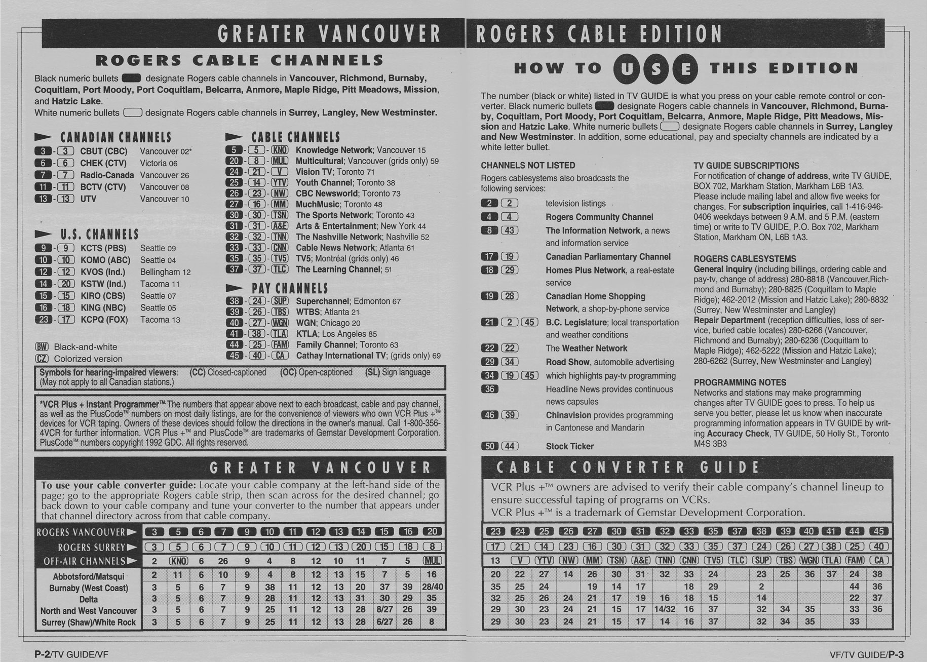 TV Guide August 7 1993 Vancouver Rogers Cable Edition Cable Converter Guide