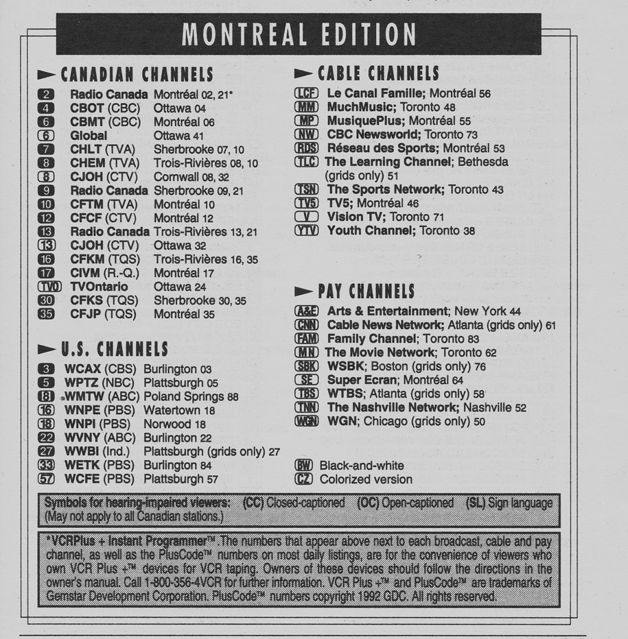 Tv Guide Montreal >> Vintage Channel Guide From Montreal Edition Of Tv Guide September 4 1993