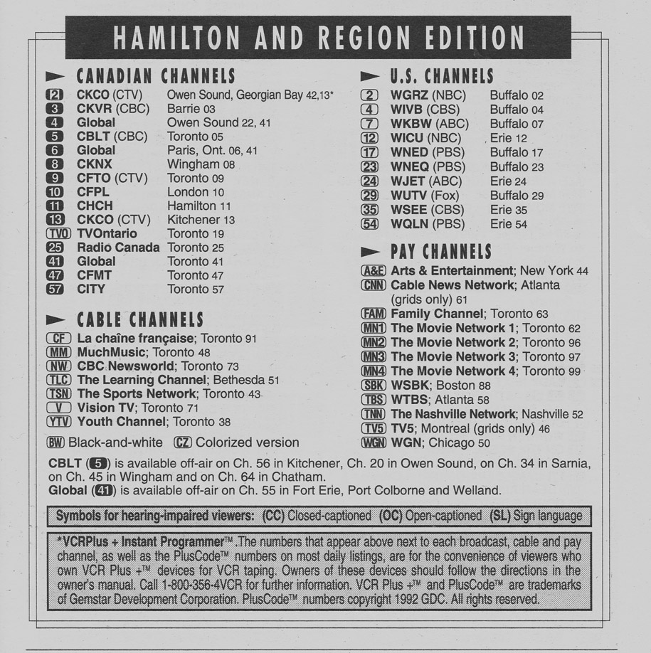 TV Guide September 11 1993 Hamilton & Region Edition Channels Listed