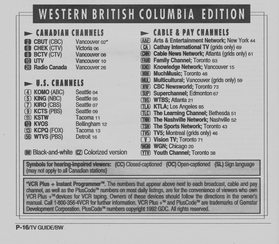 TV Guide September 18 1993 Western British Columbia Edition Channels Listed