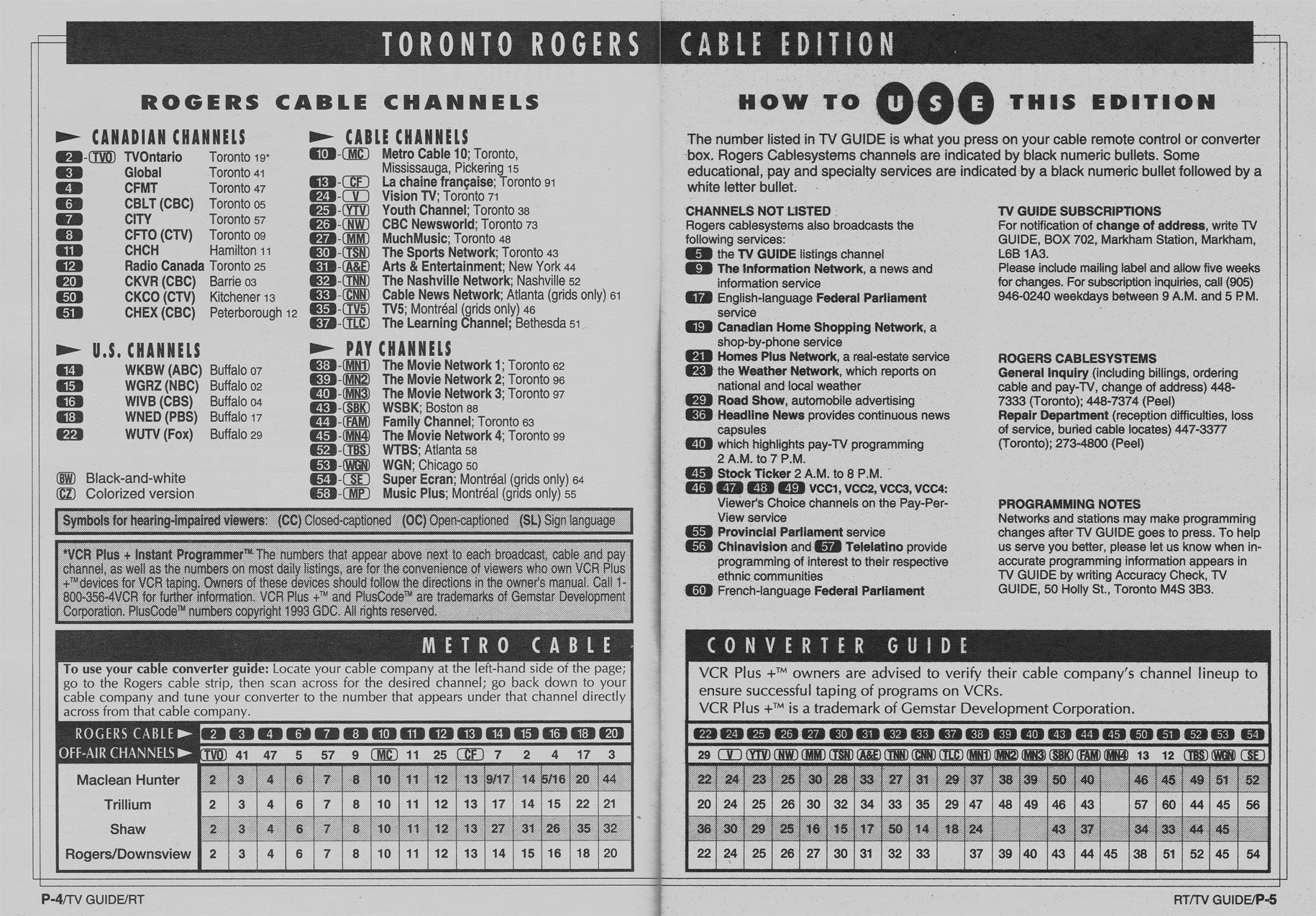 TV Guide October 16 1993 Toronto Rogers Cable Edition Cable Converter Guide