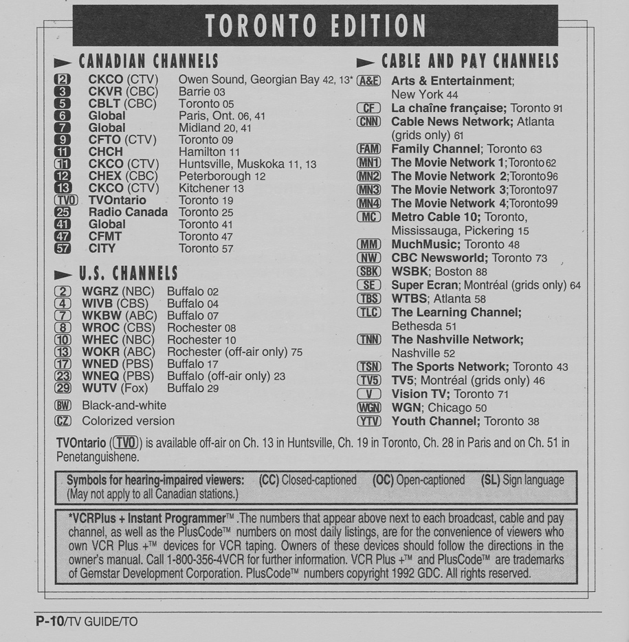 TV Guide January 22 1994 Toronto Edition Channels Listed