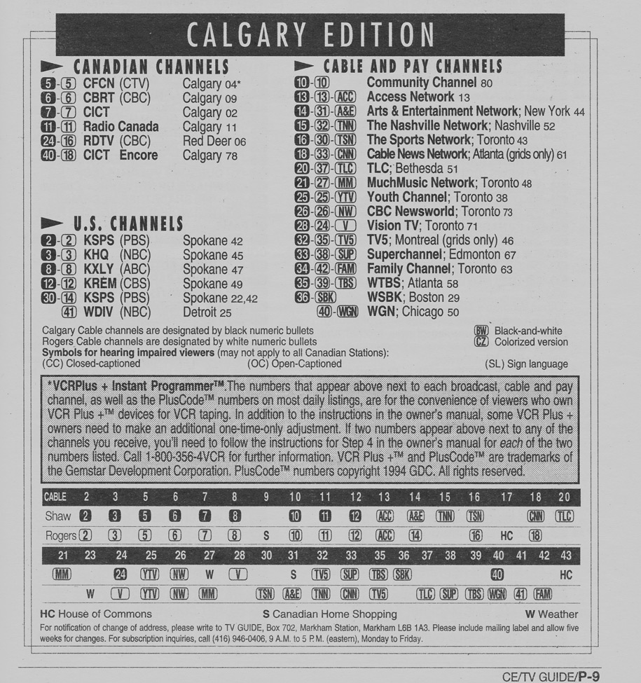 TV Guide May 21 1994 Calgary Cable Edition Cable Converter Guide