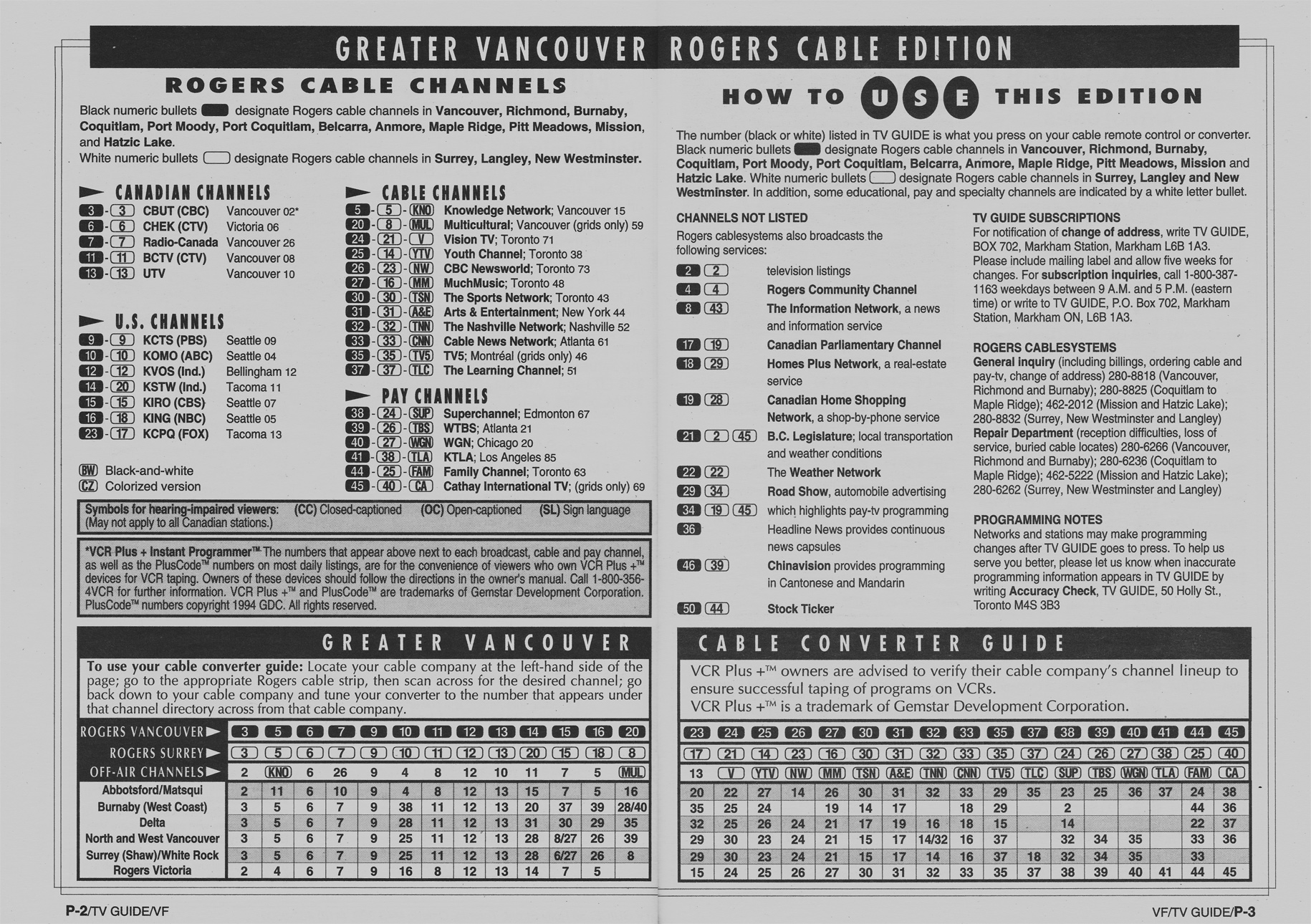 TV Guide May 21 1994 Vancouver Rogers Cable Edition Cable Converter Guide