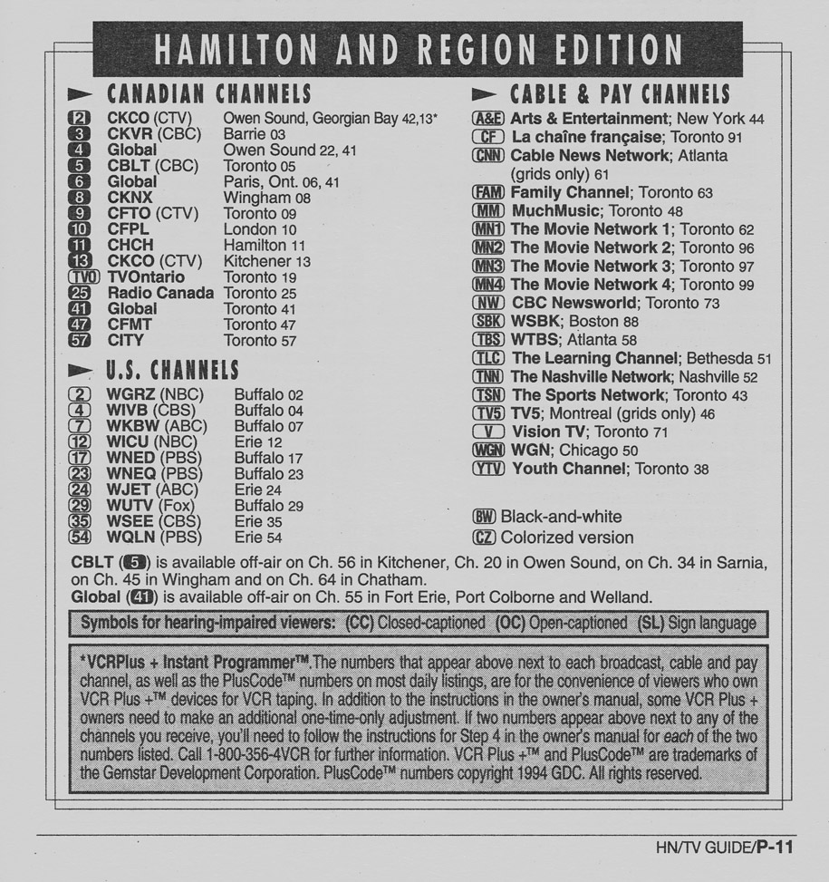 TV Guide July 9 1994 Hamilton & Region Edition Channels Listed