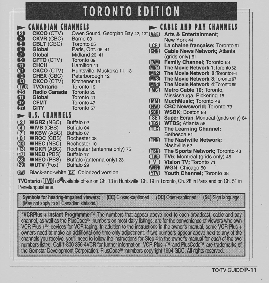 Vintage channel guide from Toronto Edition of TV Guide July 9 1994