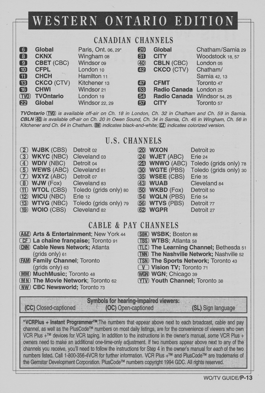 TV Guide September 10 1994 Western Ontario Edition Channels Listed
