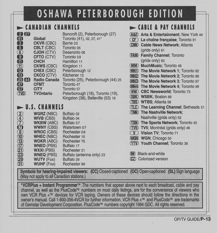 TV Guide September 17 1994 Oshawa-Peterborough Edition Channels Listed
