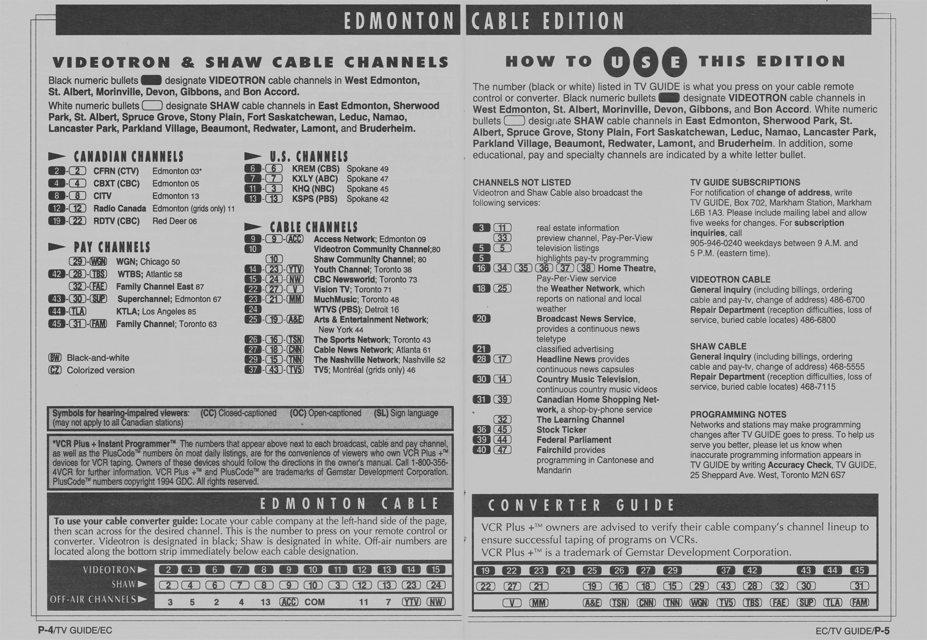TV Guide October 1 1994 Edmonton Cable Edition Cable Converter Guide