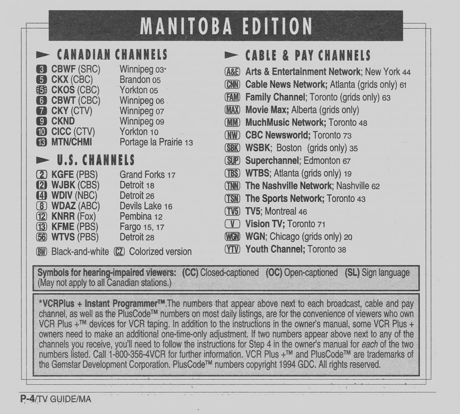 TV Guide December 3 1994 Manitoba Edition Channels Listed