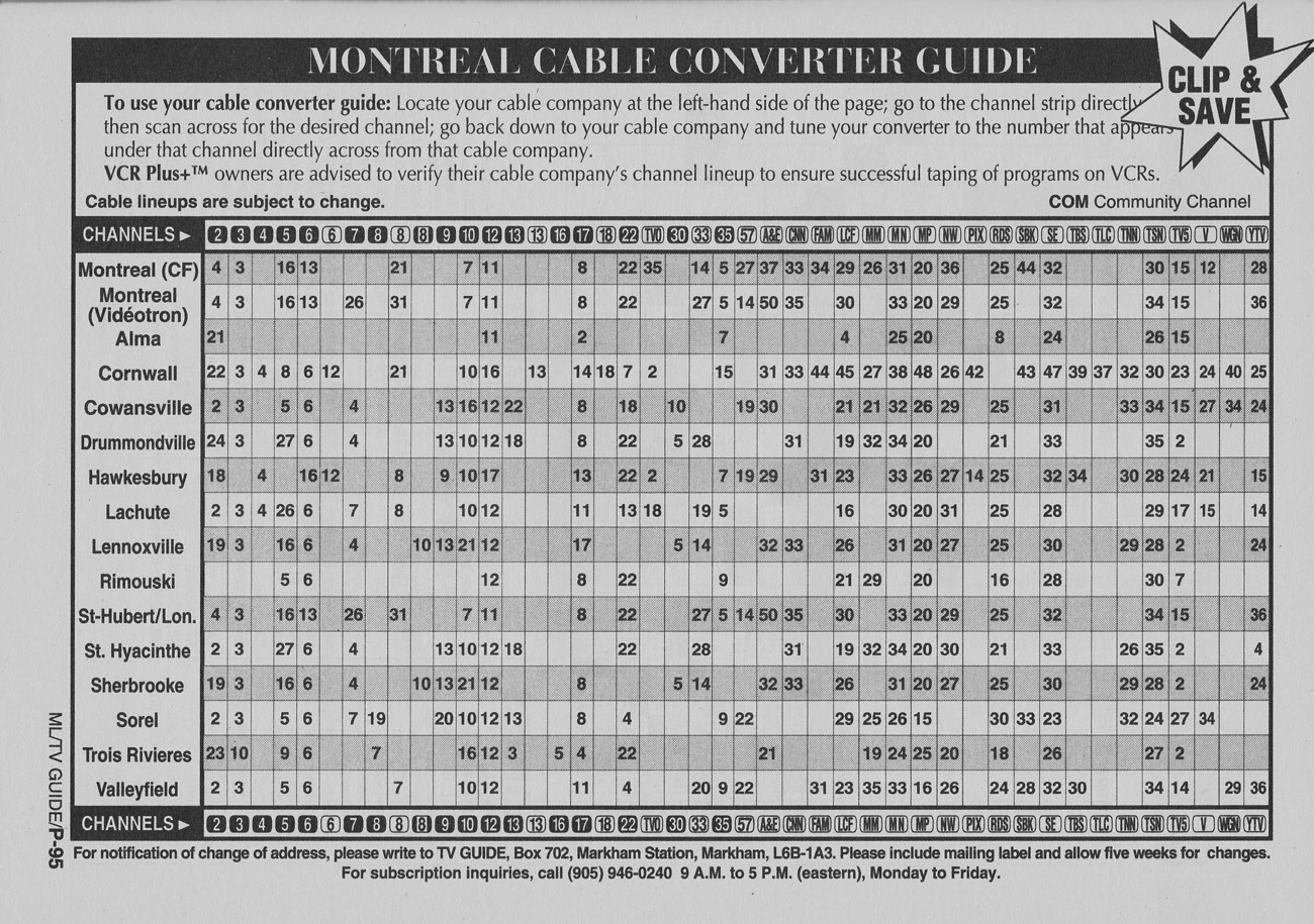 TV Guide December 3 1994 Montreal Edition Cable Converter Guide