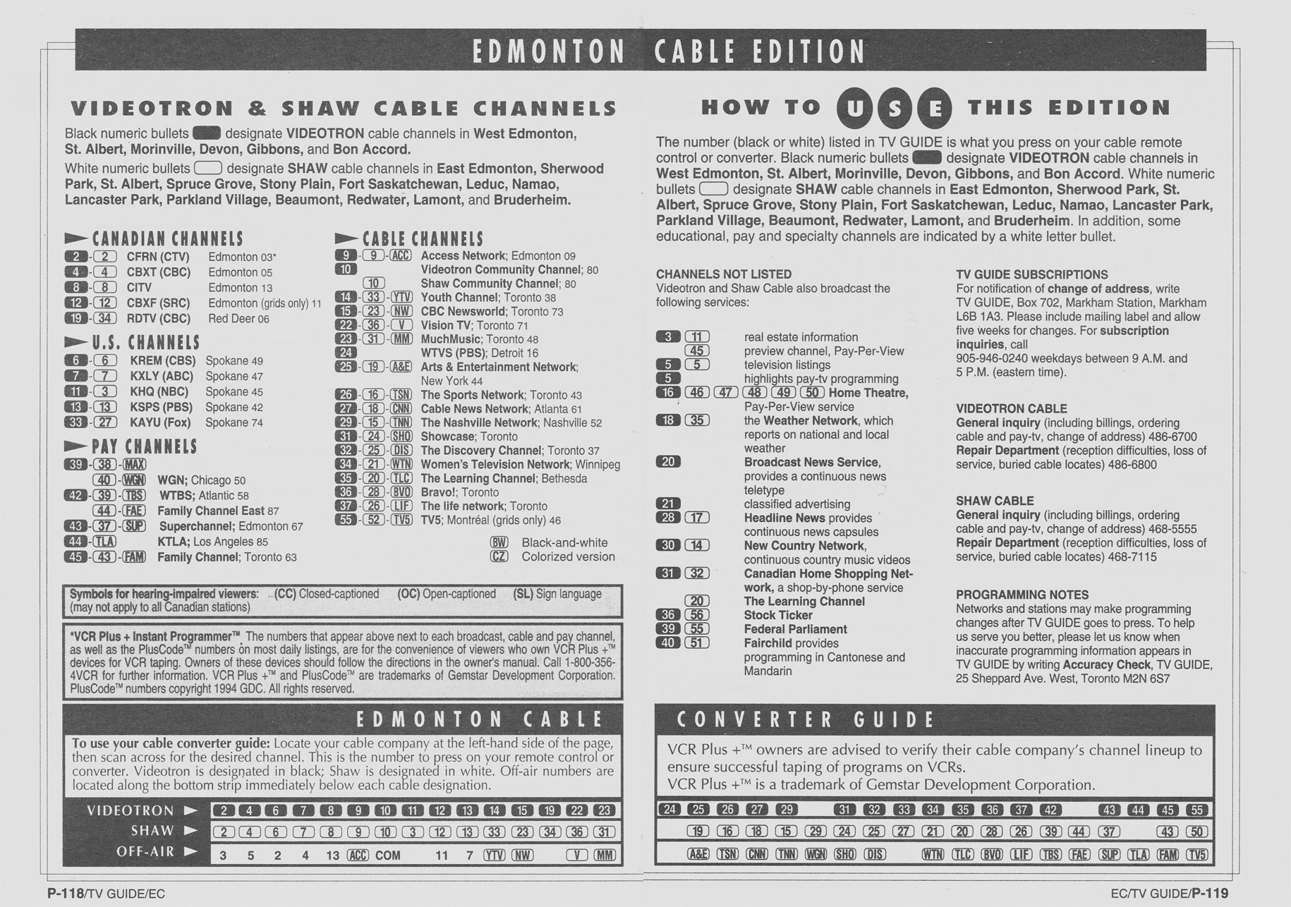 TV Guide December 31 1994 Edmonton Cable Edition Cable Converter Guide