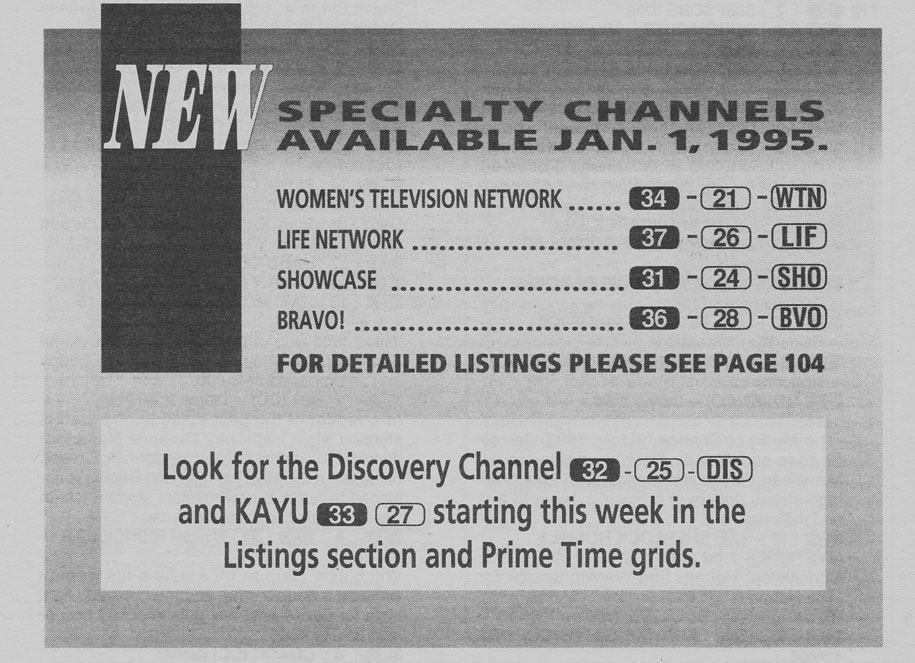 TV Guide December 31 1994 Edmonton Cable Edition New Specialty Channels