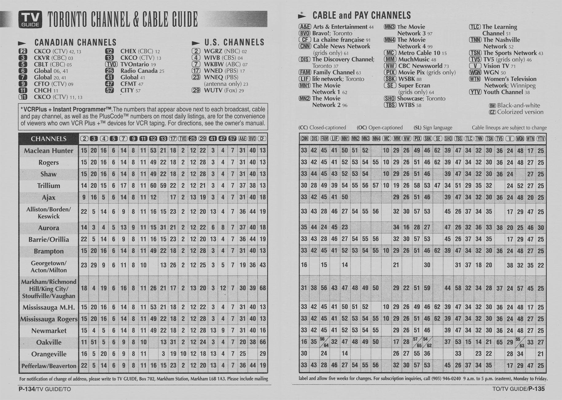 Vintage channel guide from Toronto Edition of TV Guide