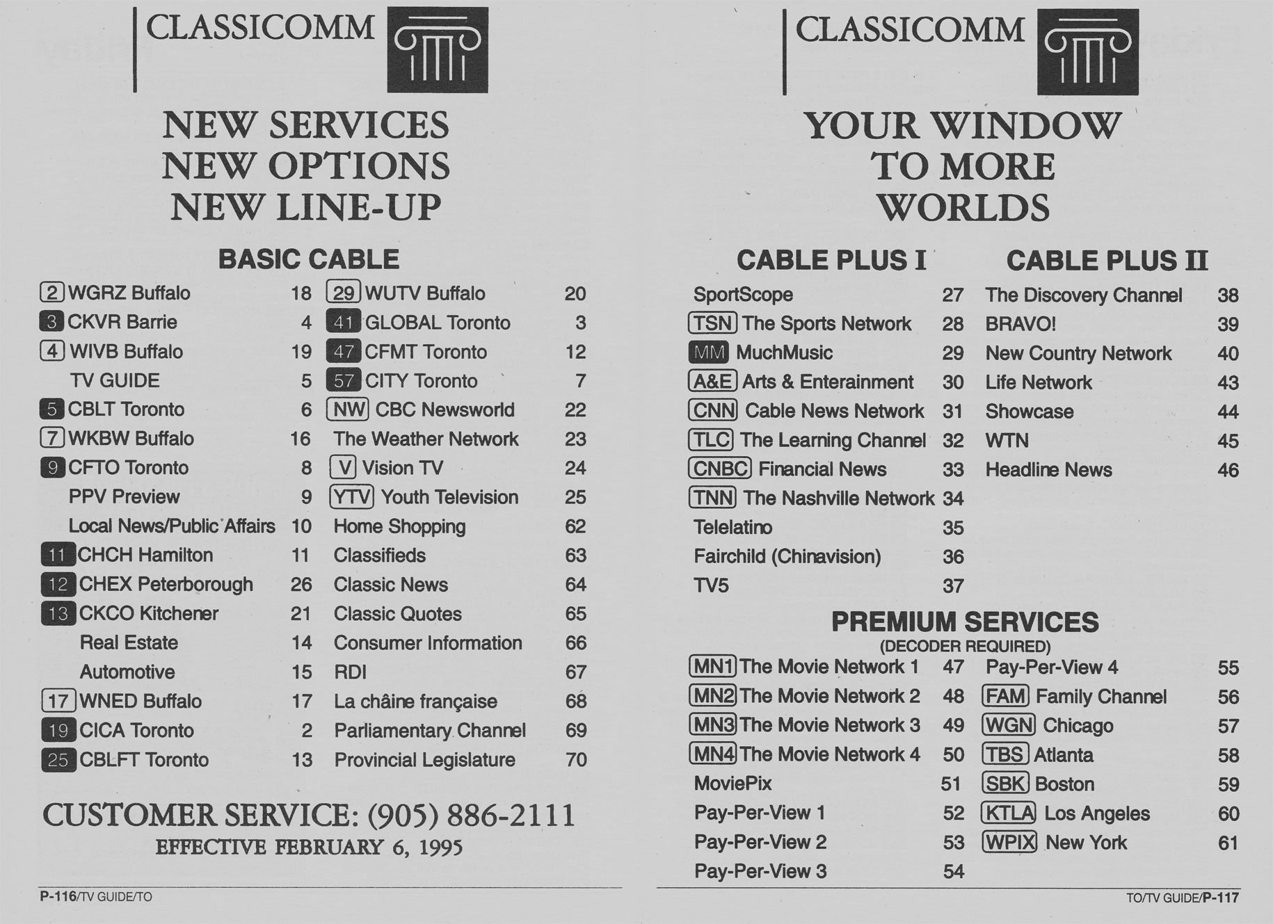 TV Guide February 11 1995 Toronto Edition Classicomm New Lineup