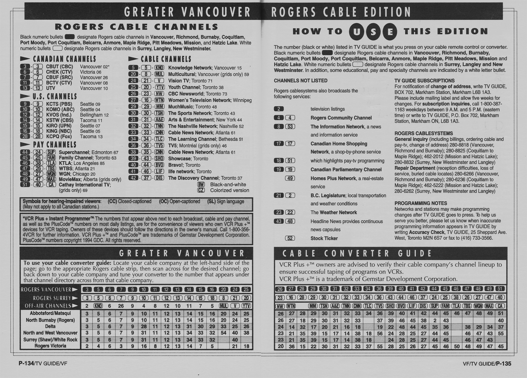 TV Guide March 11 1995 Vancouver Rogers Cable Edition Cable Converter Guide