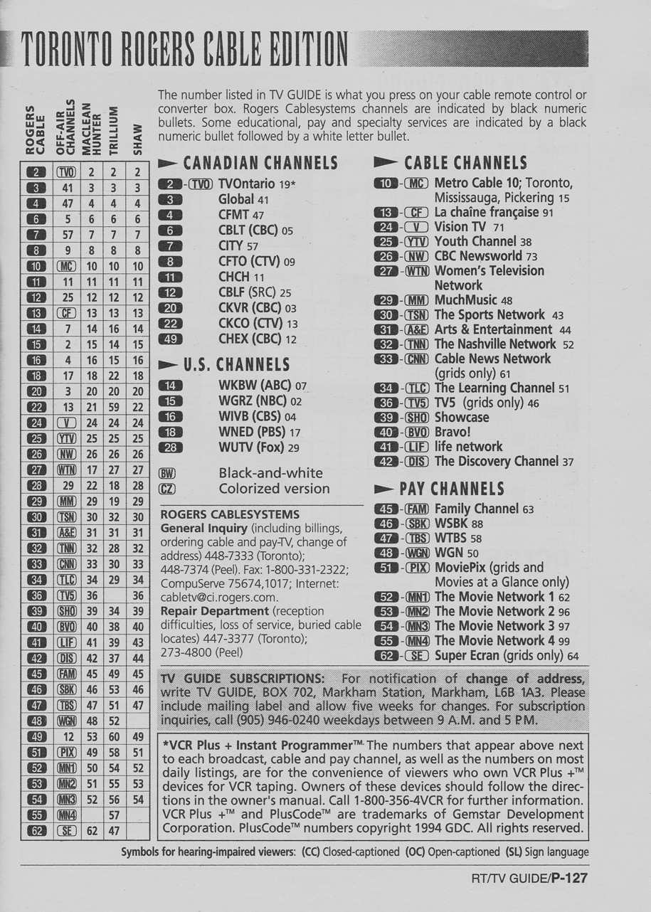 TV Guide May 20 1995 Toronto Rogers Cable Edition Cable Converter Guide