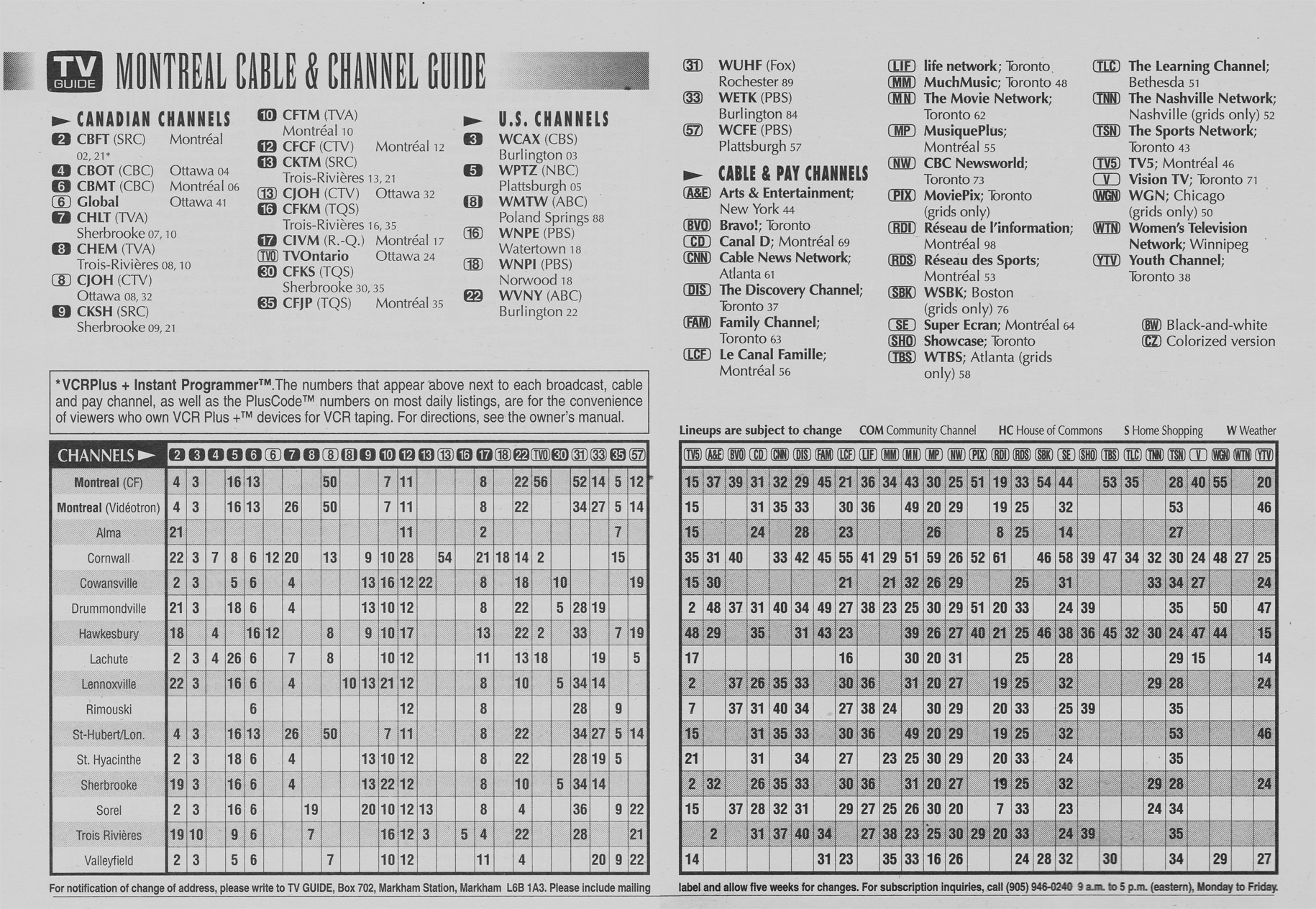 Tv Guide Montreal >> Vintage Channel Guide From Montreal Edition Of Tv Guide May 27 1995