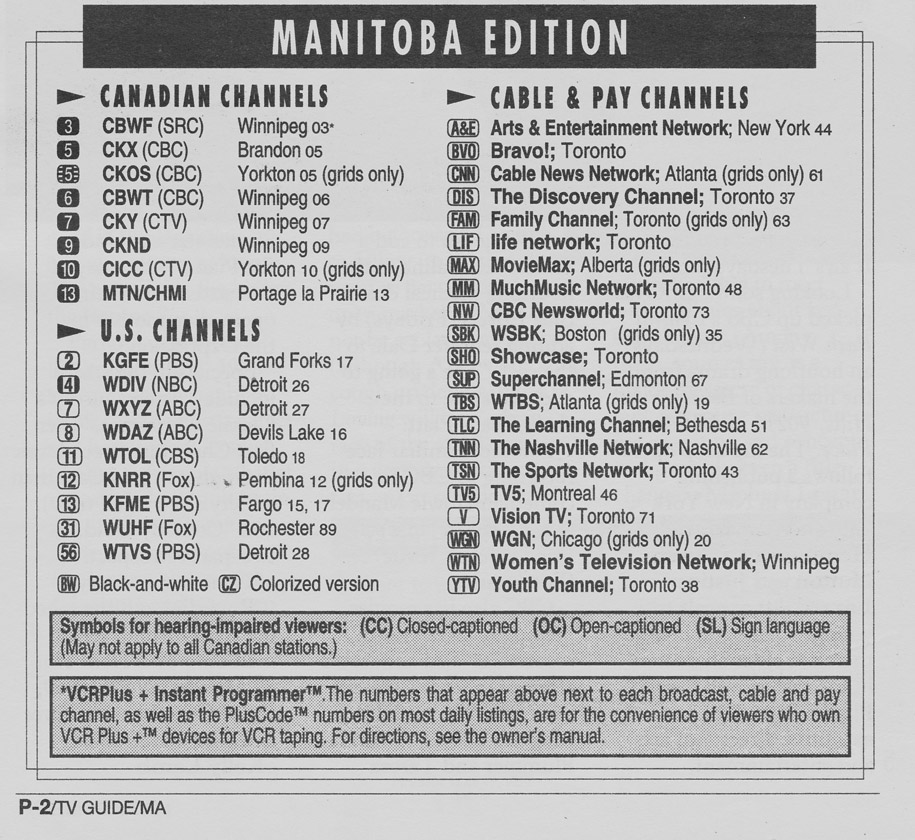 TV Guide June 17 1995 Manitoba Edition Channels Listed