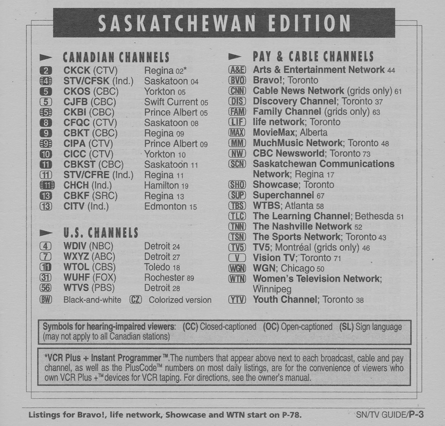 TV Guide July 22 1995 Saskatchewan Edition Channels Listed