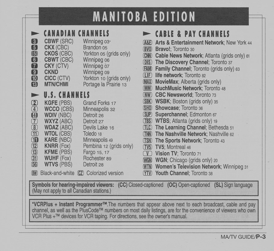 TV Guide June 8 1996 Manitoba Edition Channels Listed