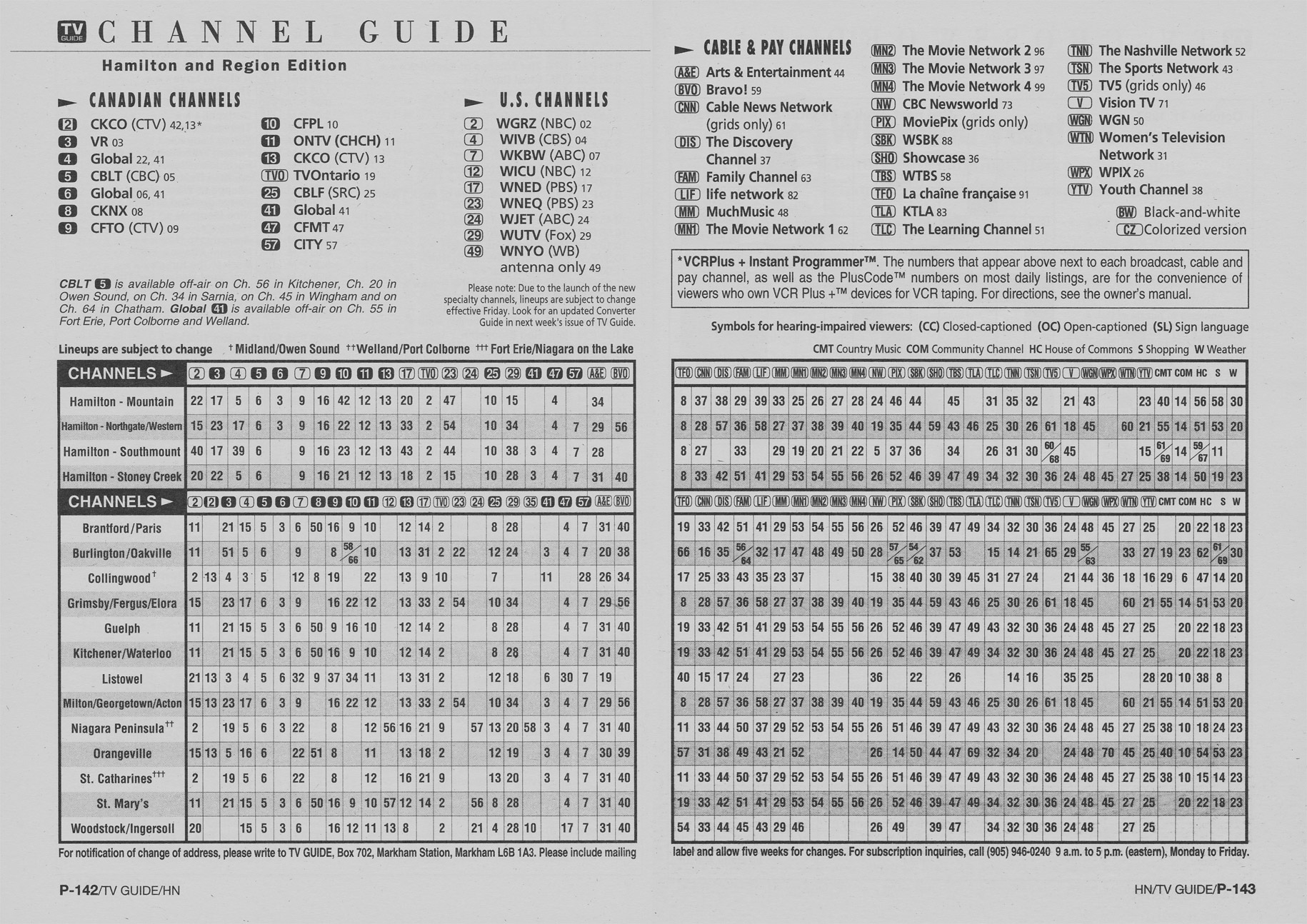 TV Guide October 11 1997 Hamilton & Region Edition Channel Guide