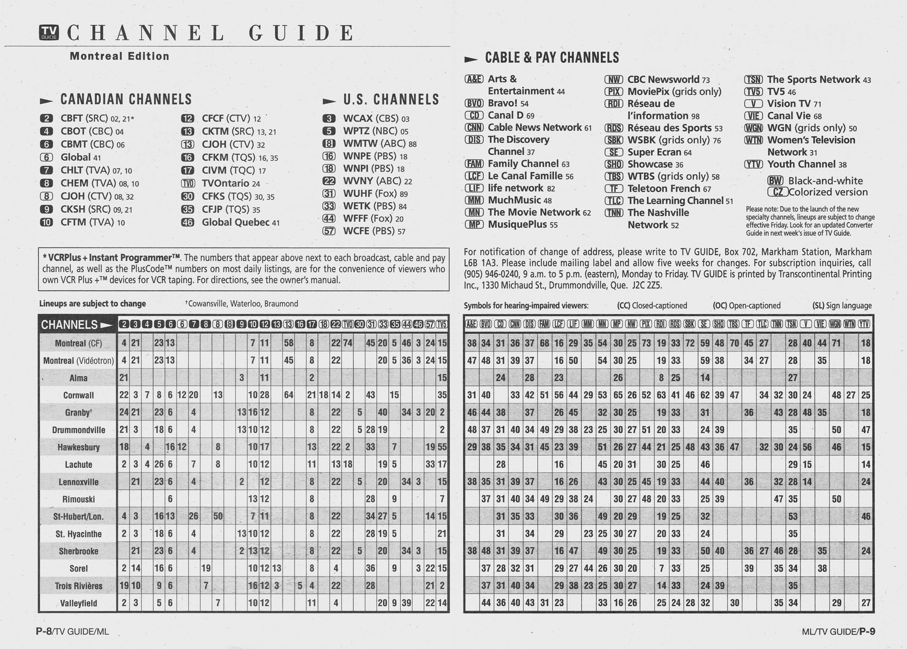 vintage channel guide from montreal edition of tv guide october 25 1997