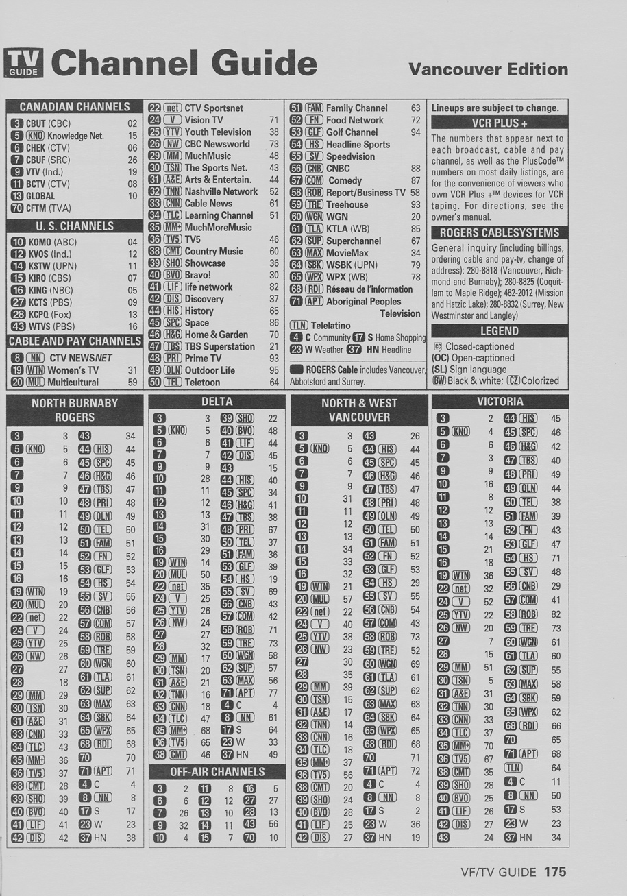 TV Guide May 20 2000 Vancouver Rogers Cable Edition Channel Guide