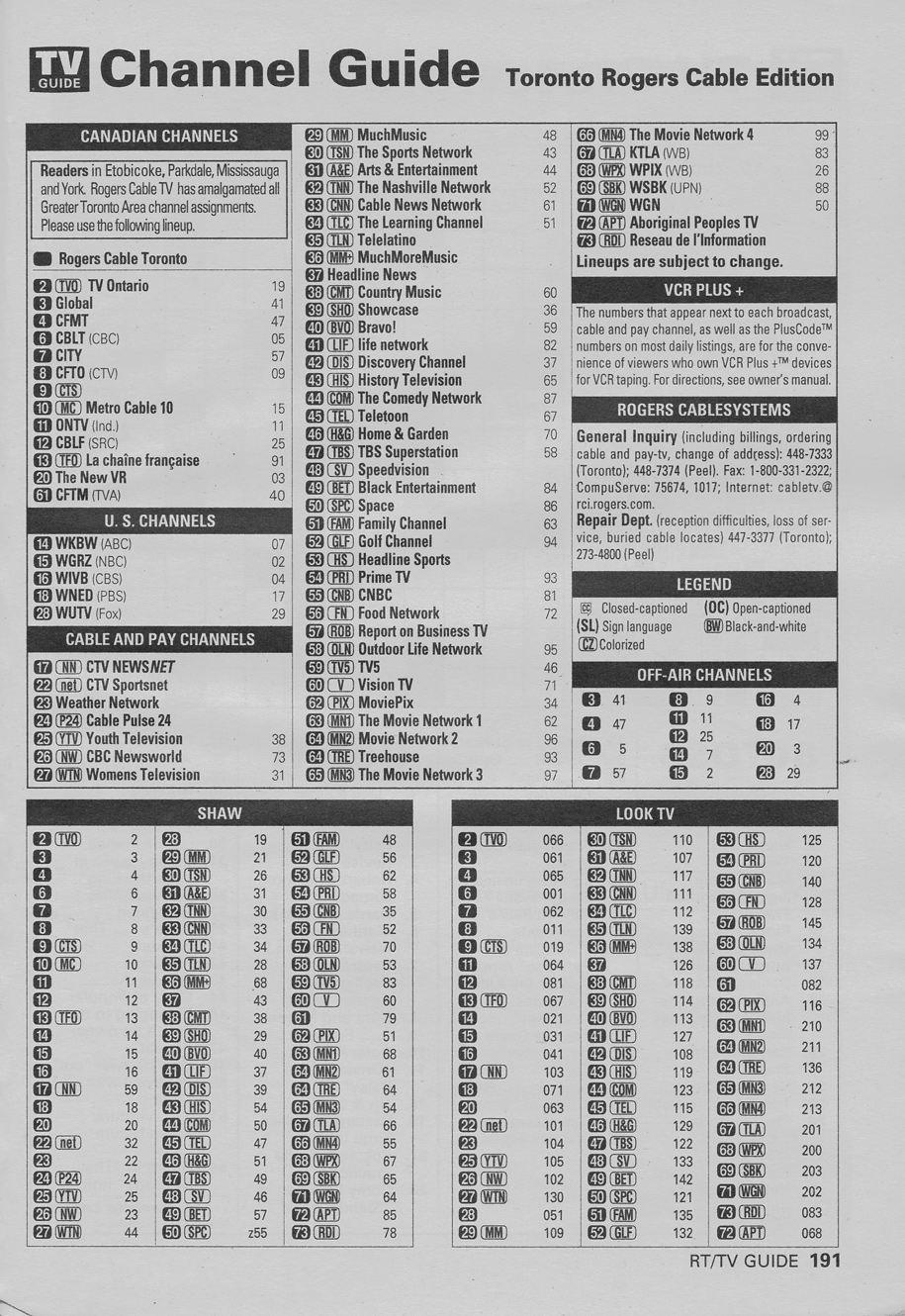 TV Guide June 10 2000 Toronto Rogers Cable Edition Channel Guide
