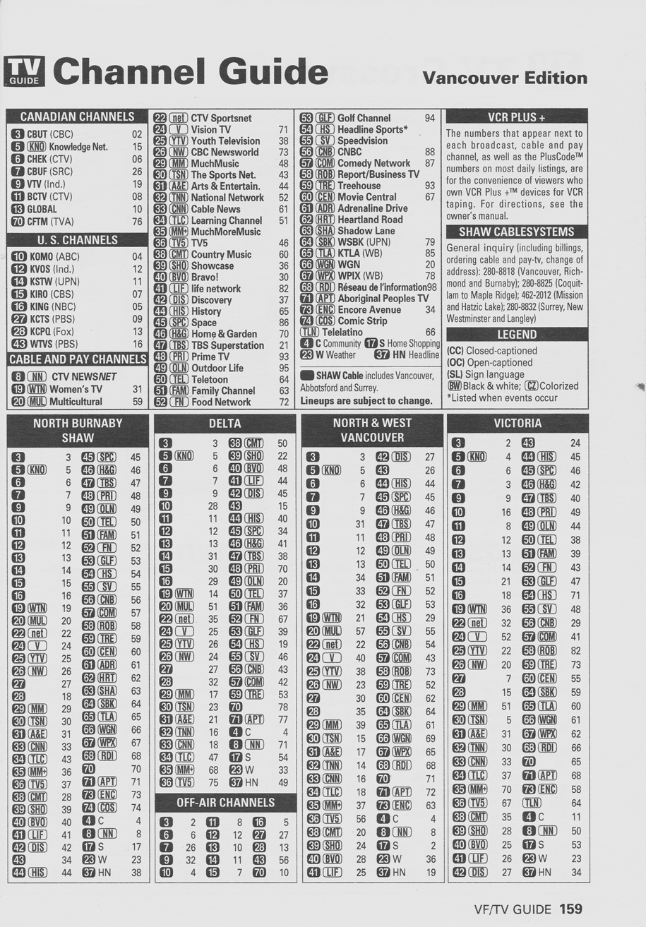 TV Guide May 19 2001 Vancouver Rogers Cable Edition Channel Guide