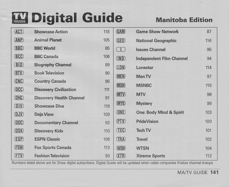 TV Guide August 24 2002 Manitoba Edition Digital Guide